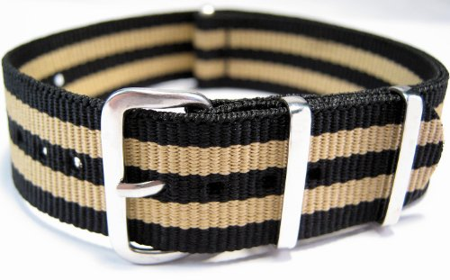G10 Nato Military Black And Beige Stripe Watch Strap Band 18mm