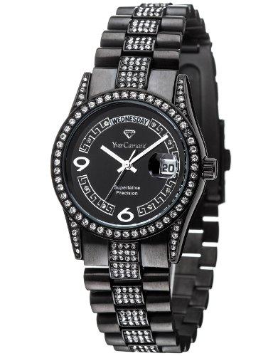 Yves Camani - YC1043-D - Tiberius - Montre Mixte - Quartz Analogique - Cadran Noir - Bracelet Acier Noir