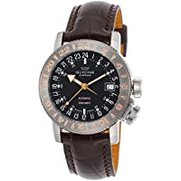 Glycine Airman 18 World Timer Purist Black Dial Mens Watch