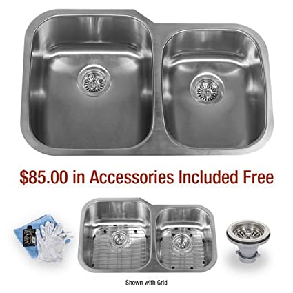 "32"" Undermount Double Basin Stainless Steel Kitchen Sink with 60/40 Split, 16 Gauge Stainless Steel"