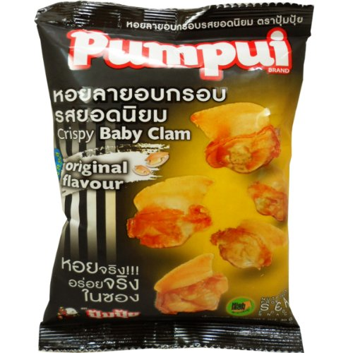 Pumpui Crispy Baby Clam Seafood Snack Original Flavour Net Wt 30g (1.0 Oz.) X 5 Bags