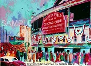 "Wrigley Field 1945 - Standard Giclee on Canvas Framed - 27""W X 21""H - Original MLB Art and Prints"