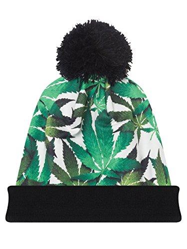 URBAN-K-Multi-Color-Marijuana-Leaf-Print-Pom-Pom-Beanie-Hat