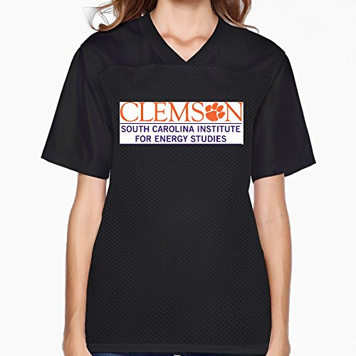 Women's Clemson University Logo Fans Jersey T Shirt Black