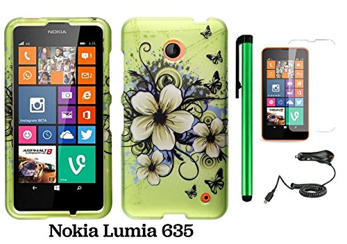 Nokia Lumia 635 Premium Pretty Design Protector Hard Cover Case (Us Carrier: T-Mobile, Metropcs, And At&T) + Screen Protector Film + Car Charger + 1 Of New Assorted Color Metal Stylus Touch Screen Pen (Apple Green Butterfly Flower)