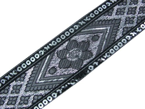New 4.5 Y Black Jacquard Woven Sequin Ribbon Trim Craft Border