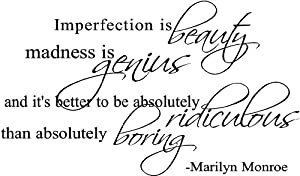 Imperfection Is Beauty Marilyn Monroe Vinyl Wall Decal Home Decor Quote Saying 10x17