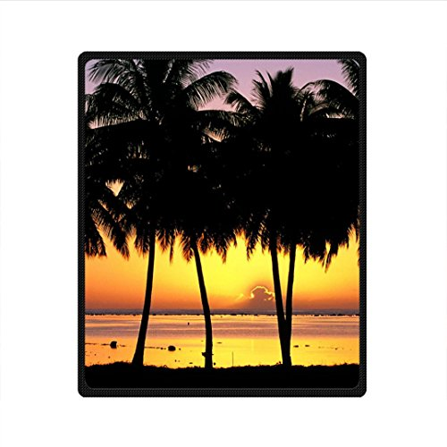 doubee-custom-personalized-sunset-beach-palm-trees-100-fleece-picnic-festival-blanket-40-x-50