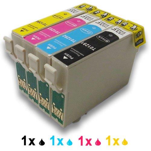4x (1xShwarz, 1xCyan, 1xMagenta, 1xGelb) Druckerpatronen Ersatz für EPSON T1291 T1292 T1293 T1294 T1295 komp. für Epson Stylus Office B42WD BX305F BX305FW BX305FW Plus, BX320FW BX525WD BX535WD BX625FWD BX630FW BX635FWD BX925FWD BX935FWD Stylus SX235W SX420W SX425W SX435W SX445W SX525WD SX535WD SX620FW WorkForce WF-7015 WF-7515 WF-7525