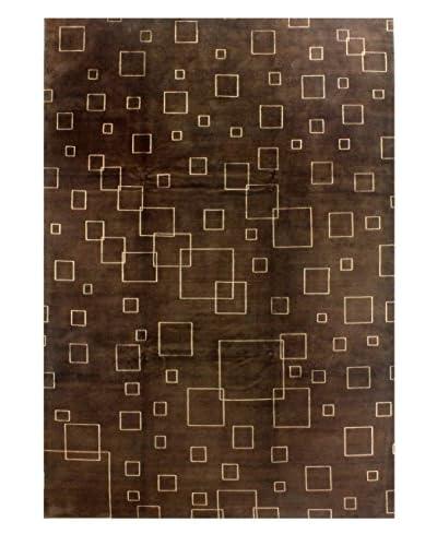 Bashian Rugs Hand-Knotted Tibetan Rug, Chocolate, 9' 10 x 14'