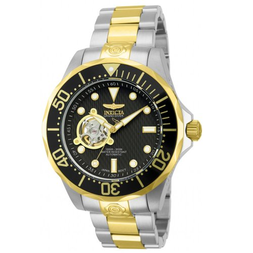 2c63c3459ebd Invicta Men s 13705 Pro Diver Automatic Black Textured Dial Two Tone  Stainless Steel Watch