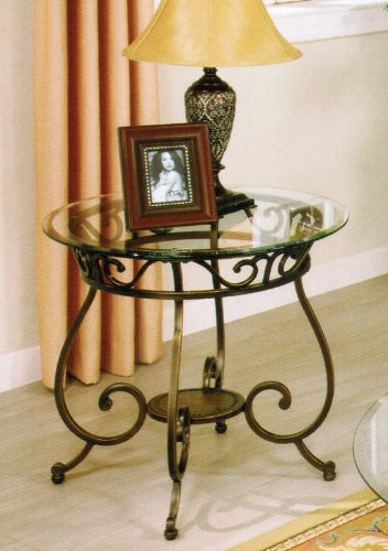 Cheap End Table with Glass Top in Bronze Finish (VF_F6022)