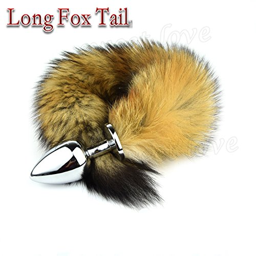 Marcaus Paint Co 3 Sizes of Metal Erotic Anal Butt Plugs , Long Fox Tail, Anus Sexy Toys For Women & Men, Funny Adult Love Fox Tail AS026S