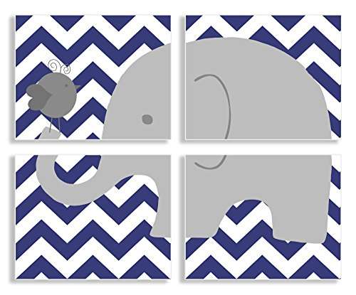 The Kids Room by Stupell Gray Elephant and Birdie on Blue Chevron 4-Pc. Rectangle Wall Plaque Set