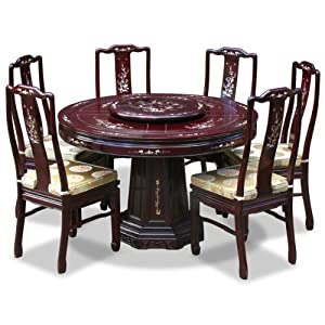 48in Mother Of Pearl Design Rosewood Round Dining Table With 6 Ch