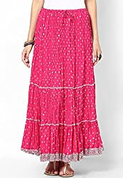 Soundarya Women Cotton Skirts -Pink -Free Size