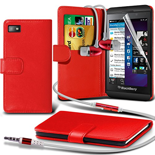 Fone-Case ( Red ) Blackberry Z10Faux Stylish Pu Leather Wallet Credit / Debit Card Flip Case Skin Cover With Screen Protector Guard & Aluminium In Ear Earbud Stereo Hands Free Headphones Earphone Headset With Built In Microphone Mic & On-Off Button