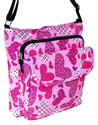 Small size Hot Pink Hearts shoulder or sling style messenger bag. Travel cabin or hand luggage school