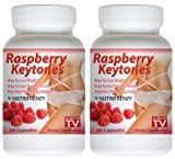 2 Bottles - Nutrifrenzy 100% Pure Raspberry Ketone 500mg Servings, Weight Loss, Appetite Suppressant 120 Capsules As Seen on TV!