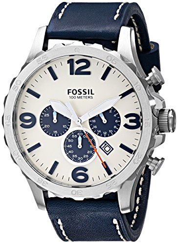Fossil Men's JR1480 Nate Chronograph Leather Watch - Navy