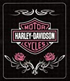 Harley Davidson Rose Tattoo Fleece Blanket