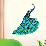 StickersKart Wall Stickers Unique Blue Peacock (Wall Covering Area: 95cm x 105cm)