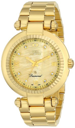 Swiss Precimax Women's Avant Diamond SP13320 Gold Stainless-Steel Swiss Quartz Watch with Mother-Of-Pearl Dial