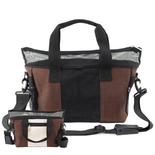 Doggles Dog Carrier Hemp Messenger Bag, Large, Off White / Brown