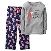 Carters Little Girls Cute Fox Pajama Set Size 6 Navy
