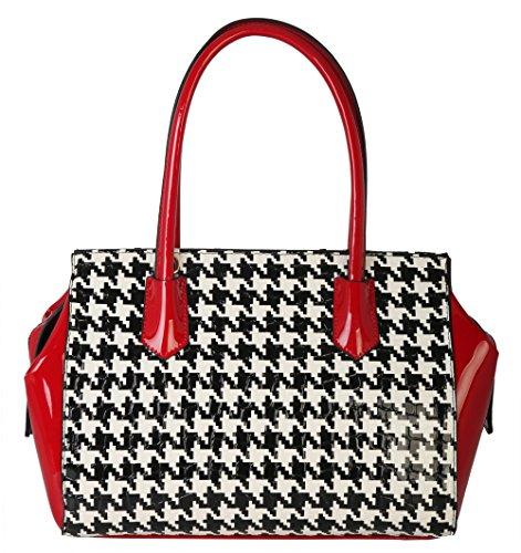 Rimen & Co.Womens Large Top Zip Satchel Houndstooth Print Leather Handbag Purse QN-2859 (Red)