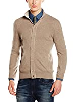 Hackett London Chaqueta Punto Lana Cash Mx Bt Crd (Marrón Claro)