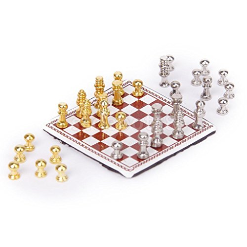 Vintage Dollhouse Miniature Artist Metal Chess Board Set Play Game Toys 1:12 (Dog In Wizard Of Oz)