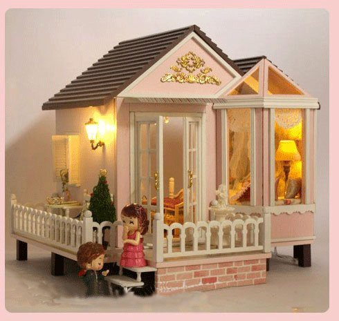 Big Dollhouse Miniature Diy Wood Frame Kit With Light Model Sweet Promise Gift Ldollhouse218-D79