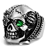 Justeel Men Stainless Steel Ring Band Silver Green CZ Skull Gothic Size X(with Gift Bag) (Width: 0.91