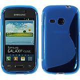 Silikon Hülle für Samsung Galaxy Young - S-Style blau - Cover PhoneNatic Schutzhülle + Schutzfolien