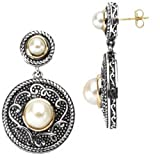 14K Yellow Gold and Sterling Silver Fresh Water Cultured Pearl Earrings