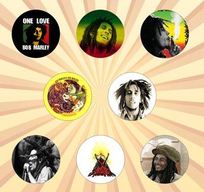 [Bob Marley Set of 8 - 1 Inch Pinback Buttons] (Buffalo Bob Costume)