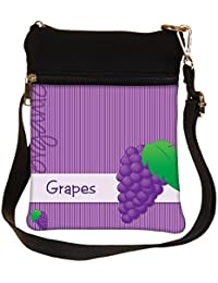 Snoogg Bright Organic Purple Grape Card In Vector Format Cross Body Tote Bag / Shoulder Sling Carry Bag