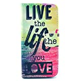iphone 5 Case,iphone 5S Case,Nancy's Shop *New* Fashion (Latest Styles) Pattern Premium Pu Leather Wallet [Stand Feature] Type Magnet Design Flip Protective Credit Card Holder Pouch Skin Case Cover for Apple iPhone 5/5S/5G (built-in Credit Card/id Card Slot)- (NEW-Live the Life You Love)