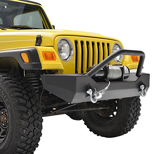 E-Autogrilles YJ TJ Jeep Wrangler Black Textured Front Bumper with D-Rings