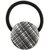 Black White Sparkle Plaid Pleather Fabric Covered Button Hair Elastic