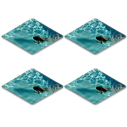 Liili Square Coasters (4 Piece) Girl swimming in a pool under water Photo 19342208