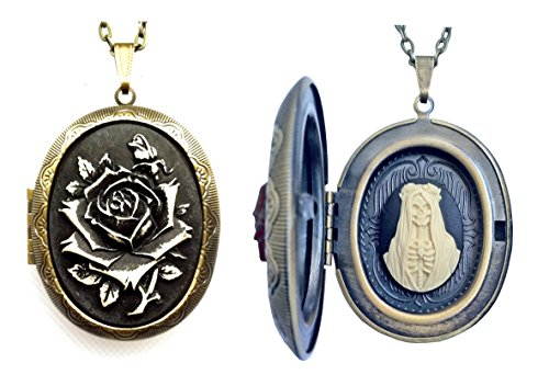 The Holy Black Rose of Santa Muerte Cameo Charm – Believers of the Blessed!