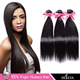 Diseta 16+18+20 Plus Quality Indian Virgin Straight Human Hair Weaves Human Hair Extension Multi Choices Bundles,300g Total (100g Each), Unprocessed Human Hair, Natural Color, Can Be Dyed & Bleached