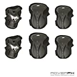 RoverFX Adjustable Elbow Knee Wrist Protective Safety Pad Guard 6pcs Gear Set (Black)