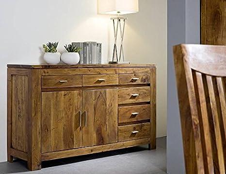 Aparador de madera de acacia maciza madera miel 2-puertas 6 cajones madera maciza muebles Shaman #40