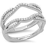 0.35 Carat (ctw) 14K Gold Round Diamond Ladies Wedding Split Shank Enhancer Guard Double Band 1/3 CT