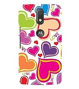 Colourful Love Hearts Wallpaper 3D Hard Polycarbonate Designer Back Case Cover for Motorola Moto G4 Plus :: Moto G4+