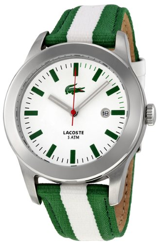 Lacoste Advantage White Dial Green and White Strap Mens Watch 2010501