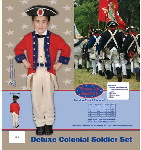 Dress Up America Deluxe Colonial Soldier Set Costume Set Medium 8-10 294-M